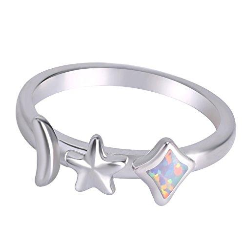 KELITCH Creado Ópalo Banda Anillos Luna Estrella & Diamante Forma Solitario Anillos Para Mujer (Blanco, 9)