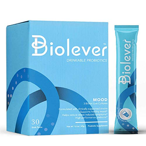 Mood Probiotics and Prebiotics Drinkable Powder by Biolever | Clinically Proven to Help Reduce Stress-Related Symptoms | Daily Digestive and Immune Health Supplement | Flavorless, 30 Packet