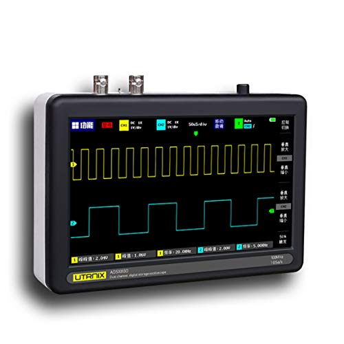 Bellaluee 2 Canales 100MS / s Mini Nano1013D Osciloscopio Digital portátil Profesional Sonda Digital Osciloscopio de Tableta táctil Digital