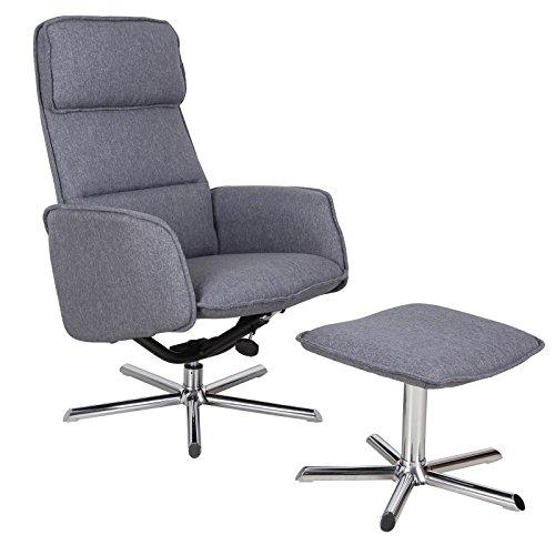 CARO-Möbel Relaxsessel Reno Fernsehsessel TV Sessel mit Hocker, inkl. Liegefunktion, Stoffbezug in anthrazit grau
