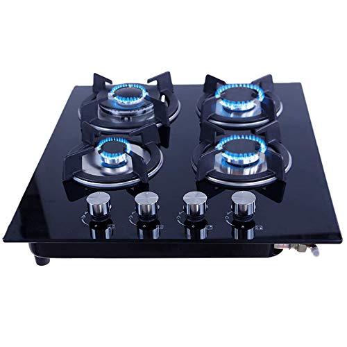 Just Home Gutstark Parrilla de Gas (Natural o LP) Empotrable de Cristal Templado 4 Quemadores Estufa para Cocina Encendido Electronico Medidas (59x51x9 cm)