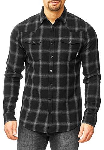 Indicode Herren Altin Flanellhemd kariert mit 2 Brust-Taschen aus 100% Baumwolle | Regular Fit Langarm Herrenhemd Ton-in-Ton Karo-Muster LS Shirt langärmlig Freizeithemd für Männer Black XL