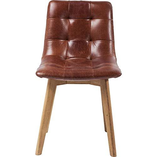 Kare Design Stuhl Moritz Leder, brauner Lederstuhl, Vintage Stuhl, Esszimmerstuhl vintage, (H/B/T) 89x48,5x54cm