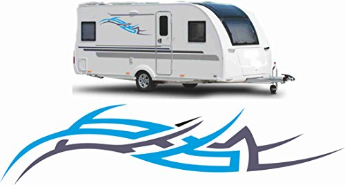 2x Wohnwagen Wohnmobil Aufkleber Caravan Sticker 120cm dunkelblau / blau