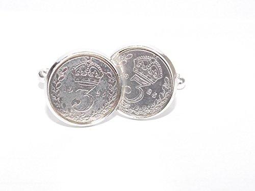 1925 original threepence/d'anniversaire Anniversaire boutons de manchette Idéal pour un 90ème anniversaire
