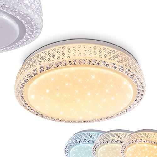 LED Deckenleuchte Burton, runde Deckenlampe mit Glitzer-Effekt aus Metall in Weiß, 24 Watt, 1700 Lumen Lichtfarbe 3000-6500 Kelvin, über Lichtschalter einstellbar, Leuchte mit Sternenhimmeloptik