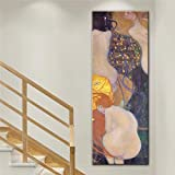 WACZJ Print Canvas Living Room Painting 3D Hand Painted Kiss Art Canvas Paintings Reproductions Gold Fish Canvas Prints Home Decorative for Living Room Birthday Present 60 × 80 cm