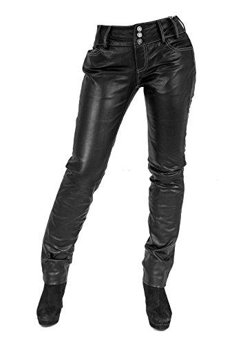 Unbekannt Ginny Damen Lederhose aus echtem Lamm Nappa Leder (Schwarz - Weiß, M)