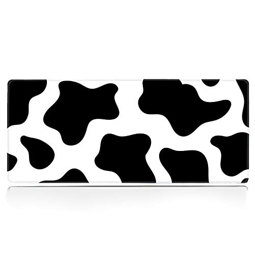 TobyFord XXL Large Extended Gaming Mouse Pad with Stitched Edge Non-Slip Rubber Base Mouse Mat Custom Printed Black White Cow Spots Desk Pad Protector Desk Mat for Esports Pros Gamer (31.5x11.8In)