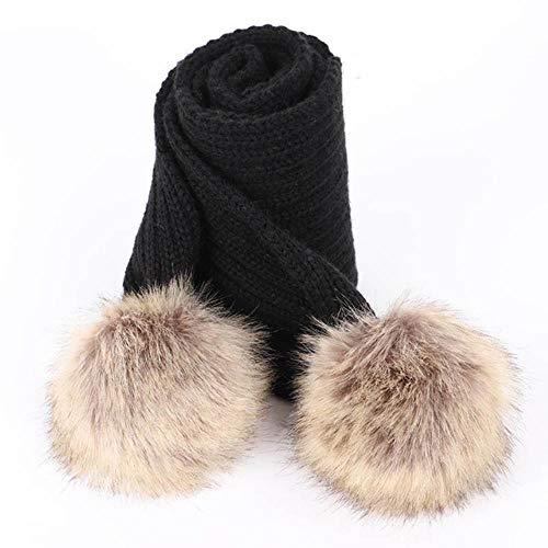 Lasisz schattige kinderen pompom knit muts kraag winter boy girl mode soft cap scarves baby luxe kerchief kids wraps, zwart