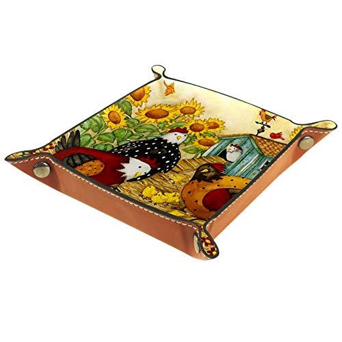 Kleine Aufbewahrungsbox,Herren-Valet-Tablett,Farm Tier Hahn Henne Blume,Leder Catchall Organizer für Coin Box Key Schmuck