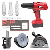 Digabi 10' Multifunctional Electric Drill Toy Construction Power Tool for Kids Pretend Play Set with Power Circular Saw, Saber Saw, Grinder, Screwdriver Bits, Cards(Red-T1465)