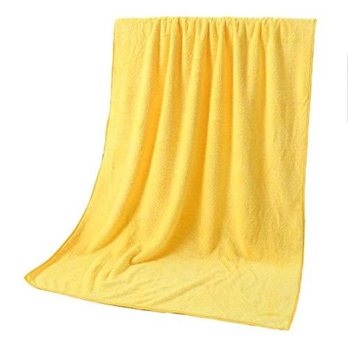 MAWA Toallas de baño súper absorbentes de 10 Colores para Adultos Toallas Grandes Baño Cuerpo SPA Deportes Toalla de baño de Microfibra de Lujo para Playa - Amarillo