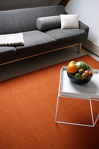 floor factory Moderner Designer Wollteppich Loft Terra orange 140x200cm - Reine Wolle in leuchtenden...