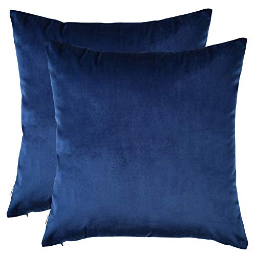 Artcest Set of 2, Cozy Solid Velvet Throw Pillow Case Decorative Couch Cushion Cover Soft Sofa Euro Sham with Zipper Hidden, 18'x18' (Royal Blue)