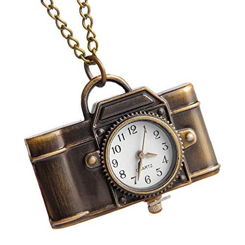 WYZQ Taschenuhr Quarz Vintage Kamera Form Kreative Mode Mini Kette Tragbare Party Charm Frauen Halskette Anhänger Bronze Ornament Geschenke Antike