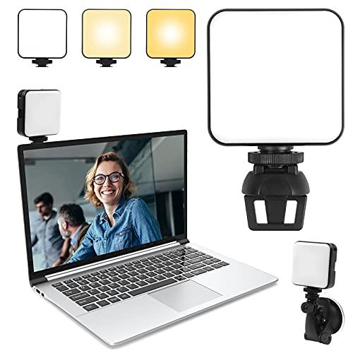 Hiveseen Eclairage de Vidéoconférence, Mini LED Lampe Photographie avec Ventouse, 2500-6500K Dimmable Rechargeable Lumière de Vidéo pour Appels Zoom, Travail à distance, Diffusion en Direct, Caméra