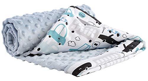 Manta para Gatear 100% algodón 75x100cm Medi Partners Multifunción Manta Minky para Cochecito de bebé Suave y mullida (Coches con celeste Minky)