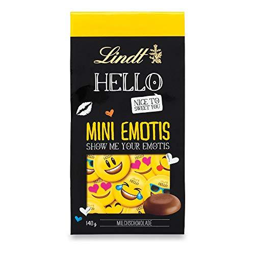Lindt HELLO Mini Emotis Schokolade | 140g Beutel | ca. 28 Schoko-Smilies aus Milch-Schokolade für Kinder | Ideal als Schokoladen-Geschenkidee