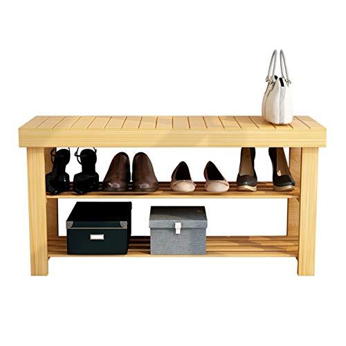 JIAGU Banco Zapatero Banco de Zapatos de 3 Niveles, Organizador de Almacenamiento de Zapatos de Entrada, Estante de Almacenamiento de bambú para Zapatos, Zapatillas, Ideal para Pasillo