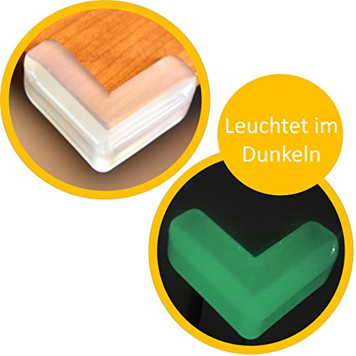 cocofy Eckenschutz, Leuchtet im Dunkeln, transparent weiß, Stoßschutz für Babys und Kinder, Glastische Eckschutz Kantenschutz (4-Pack)