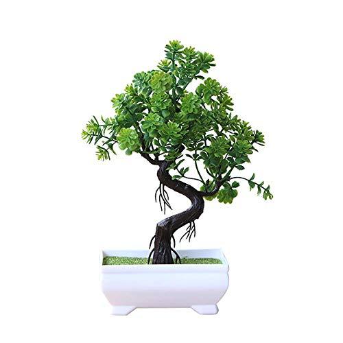 Vektenxi - Árbol artificial en maceta para simulación de bonsái, decoración del hogar, centros de mesa, color verde, duradero y útil