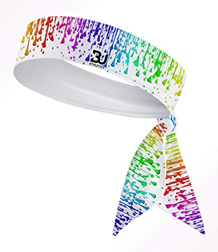 Custom Multi. Color Droplets B3 U ATHLETICS B3-Dry Head Tie Headband - Black, White, Yellow, Pink, Green, Blue, Purple, Orange