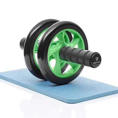 BODYMATE AB Roller Classic, Bauchtrainer zur Stärkung der Core-Muskulatur, Fitnessgerät für Zuhause, Bauchmuskeltrainer inkl. Kniepad, 28 x 16 cm (L x Ø), in Grün