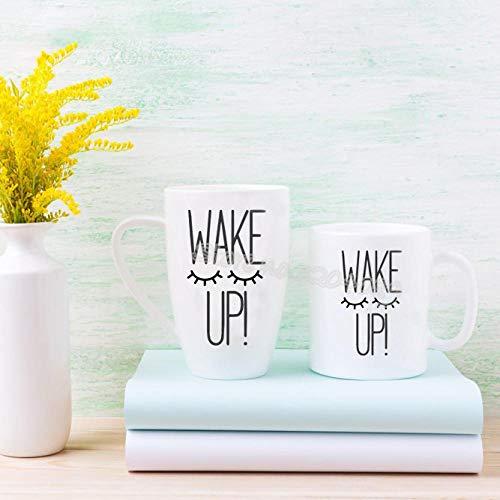 cooldeerydm Schläfriges Auge Tasse Porzellan Tasse Aufkleber Wimpern aufwachen Kaffeetasse Applique Party Geschenk Weinglas kann viele Größen boxen