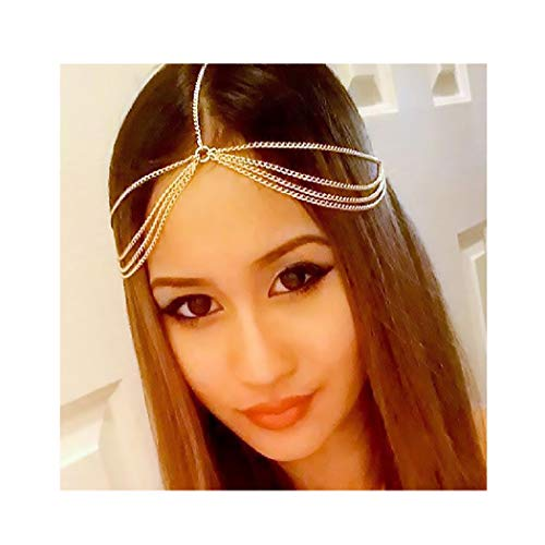 Campsis Gold Layered Head Chain Gyspy Chain Headpiece Decorative Jewelry Hair Accessories for Women and Girls