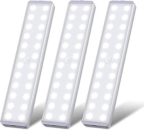 Sensor de movimiento para iluminación debajo del gabinete para interiores, luz para guardarropa con 24 LED superbrillantes, para pegar en cualquier lugar para armario, cocina, escalera, campamento