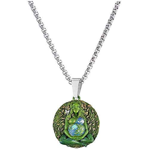 LLYAND Mother Earth Goddess Necklace,Millennial Gaia Earth Mother Goddess Statue Necklace,Personalized Feminine Jewelry Gifts for Adult Women Men Mom (Style C)