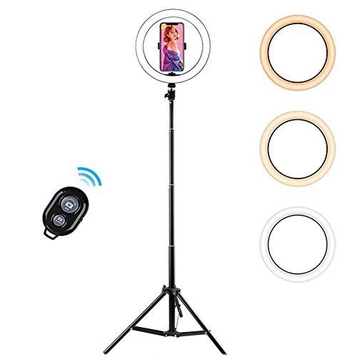 Ringlicht met statiefstandaard Modus met 3 lichtpunten Helderheid op 10 niveaus Dimbare LED-ringlamp 26 cm / 10 inch met afstandsbediening Ontworpen voor streaming