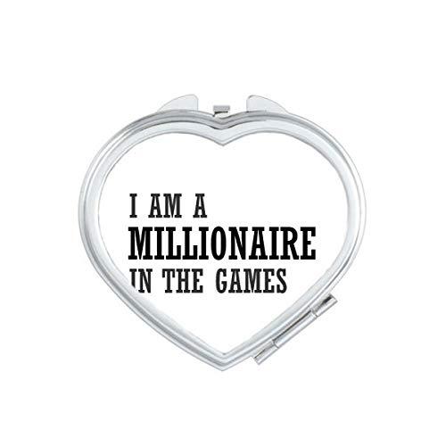 DIYthinker Je suis Un Millionnaire in The Pocket Jeux Mirror Heart Compact Maquillage Portable Mignon Main Miroirs Cadeau Multicolor