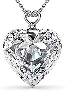BESTY JEWELS Cheery Heart Pendant Necklace With Swarovski Crystal and Quality Brass Chain Rhodium Plated Great Gift for Women