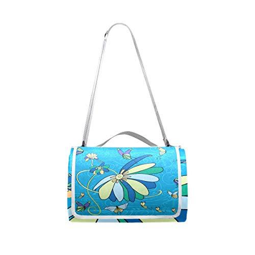 XINGAKA Manta de Picnic Impermeable,Flores Mariposas,Alfombra Plegable para Camping Parque