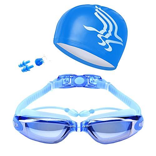 Fablcrew. Schwimmbrille, verspiegelte Schwimmbrille, UV-Schutz, wasserdicht, Anti-Verlust, bequem, verstellbar, für Erwachsene, Kinder (blau)