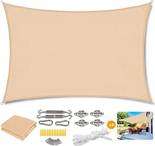 WYYL Sonnensegel Rechteckig Sonnenschutz Polyester, Wasserabweisend Wetterschutz Windschutz 95% UV Schutz Balkon Quadrat Dreieck 420D für Garten mit Seilen Befestigung- Beige|| 2x2m