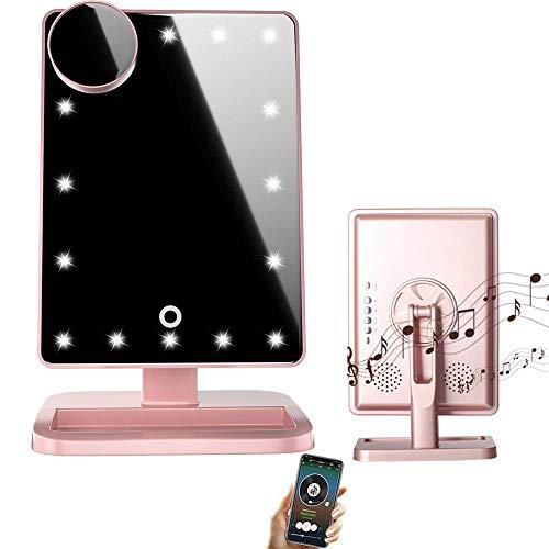 LED Bluetooth Schminkspiegel mit Touchscreen und 10-facher Vergrößerung, kabelloses Bluetooth + Freisprecheinrichtung und USB-Ladegerät, Bluetooth LED Spiegel (Rosa)