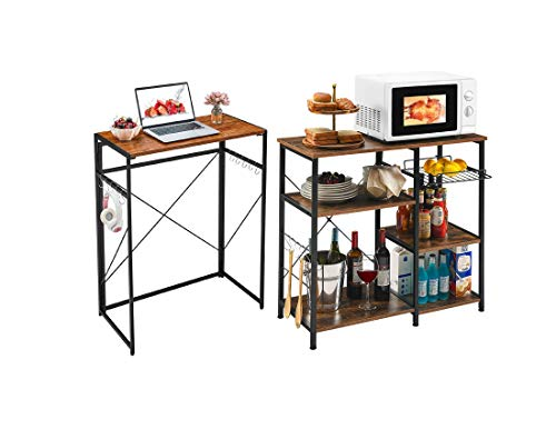 "Mr IRONSTONE 31.5"" Folding Computer Desk & Kitchen Baker's Rack Utility Storage Shelf Microwave Stand 3-Tier+3-Tier Table for Spice Rack Organizer Workstation"