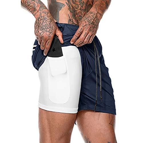 Yidarton Shorts Herren Sport Sommer 2 in 1 Kurze Hosen Schnelltrocknende Laufshorts Fitness Joggen und Training Sporthose mit Tasch (175-Marine, Medium)