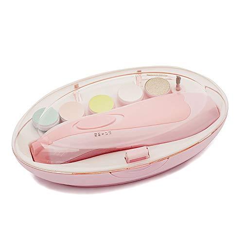 Baby Nagel Vijlen, Baby Nageltrimmer Elektrisch, 6-in-1 Elektrische Nagelknipper voor Babys en Peuters Verzorging van Vingernagels en Tenen, Werkt op AA Batterijen (Niet Inbegrepen),Light pink