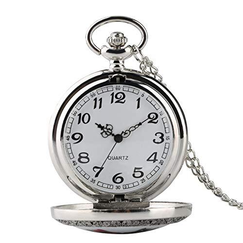Hogwarts School Theme Silver Retro Reloj de BolsilloColección Collar Colgante Reloj Regalo Hombres Mujeres Niños Plata