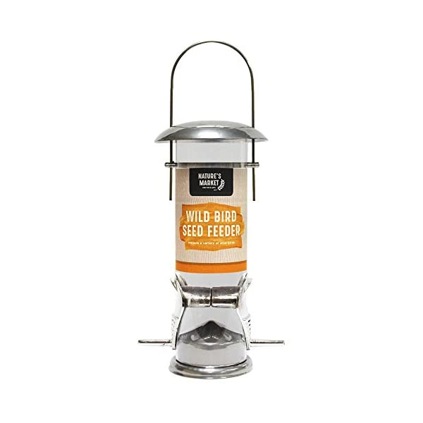 SEED FEEDER WILD BIRD DELUXE STAINLESS STEEL GARDEN HANGING WILDLIFE FOOD FINCH