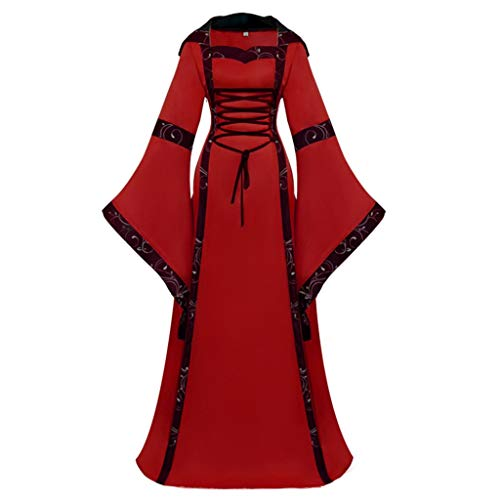 TOTOD Women Gothic Cosplay Dress Vintage Celtic Medieval Floor Length Renaissance Dress for Halloween Red
