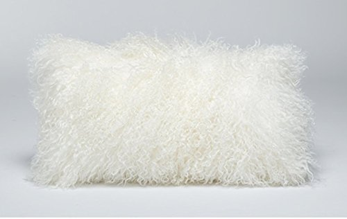 confibona 100% Real Mongolian Lamb Fur Curly Wool Rectangle Throw Pillow Cushion Decorative Pillow for Living Room Bedroom Car,Pillow Insert Included,12x20in,White