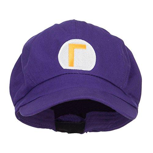 Wario Waluigi Embroidered Cotton Newsboy Cap - Purple OSFM