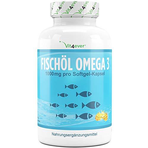 Vit4ever® Fischöl Omega 3 (420 Kapseln) - 1000 mg je Kapsel - Fettsäuren EPA & DHA - Laborgeprüfte Qualität - Hochdosiert - Nachhaltiger Fischfang