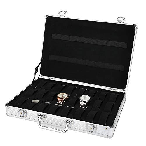 A sixx Caja de Reloj, 24 Rejillas Maleta de aleación de Aluminio Caja de Almacenamiento de exhibición de Reloj Caja organizadora de Reloj Organizador de Reloj de Cuero PU y Vitrina con Tapa de Vidrio