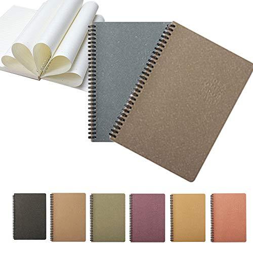 Cuaderno A5, Cuaderno de proyectos temáticos, Cuaderno de diario, encuadernado con alambre, espiral, forrado, 130 páginas, colores surtidos, paquete de 2 (Azul + verde grisáceo)
